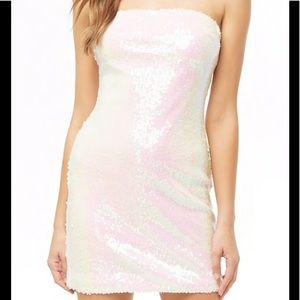 6225c11ca5e6 Dresses | White Iridescent Sequin Tube Mini Dress | Poshmark